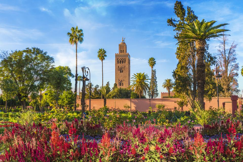 Koutoubia Mosque and gardem, Marrakesh. It's one of the best places to visit.