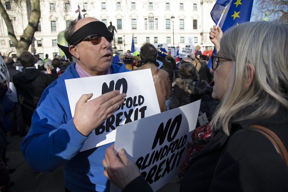 Peoples Vote Blindfold Brexit In London
