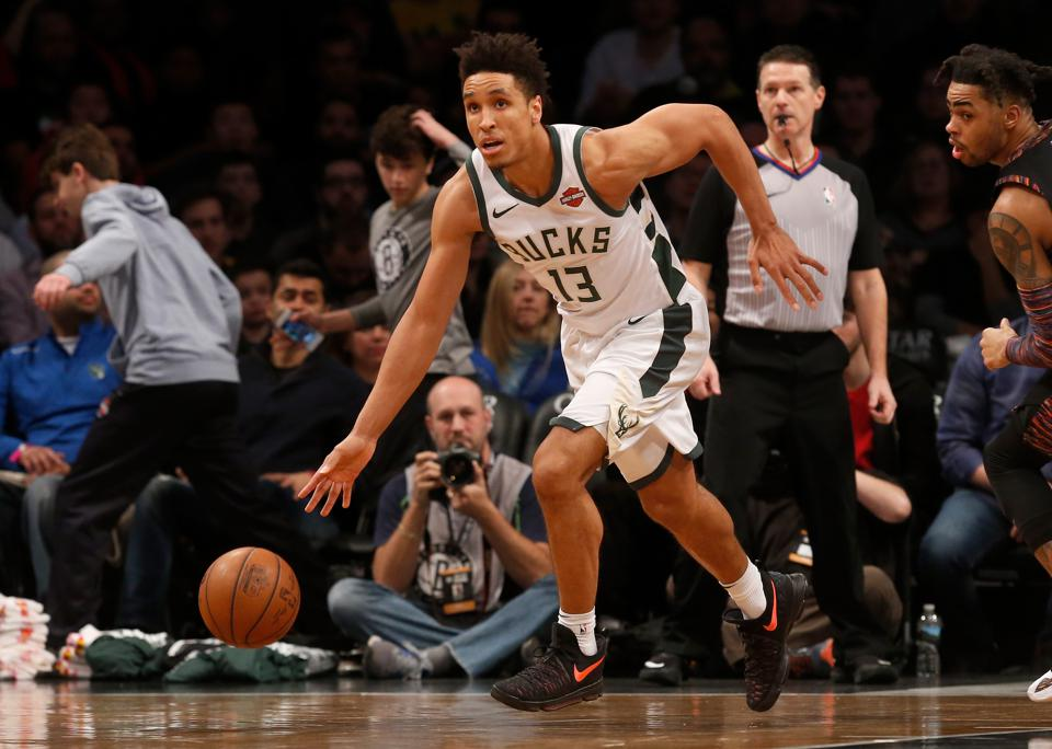 Malcolm Brogdon of the Milwaukee Bucks in action against the Brooklyn Nets on February 4.