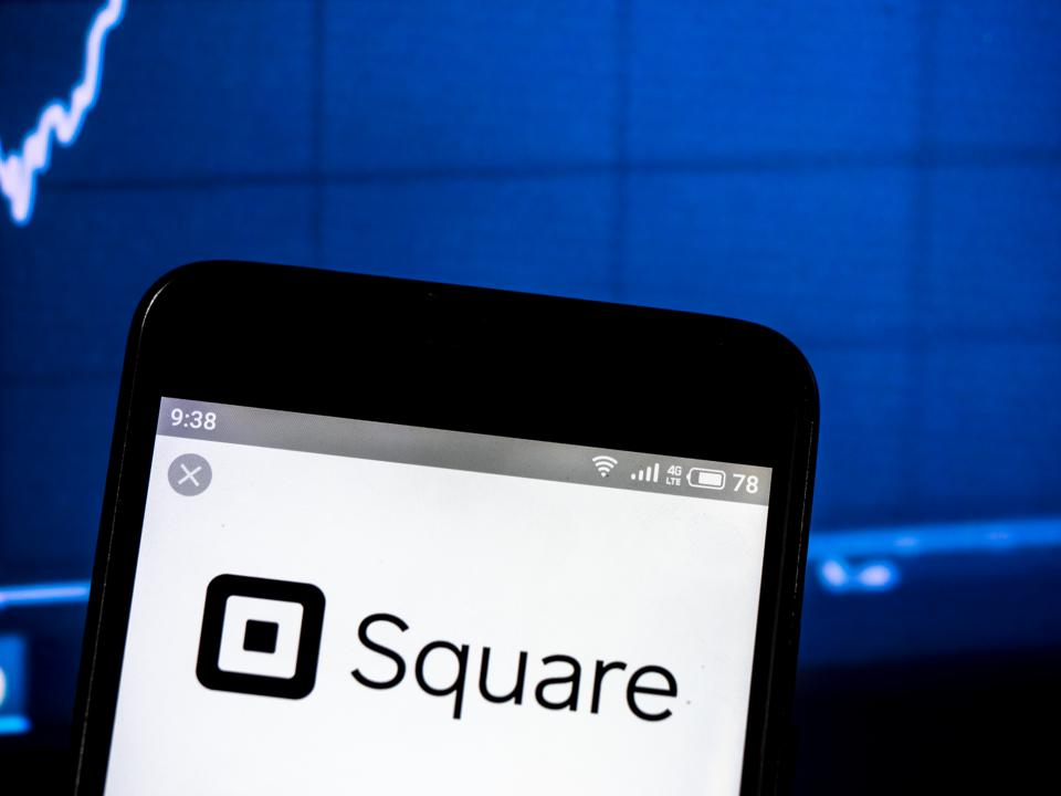 Square, Inc. company logo seen displayed on a smart phone
