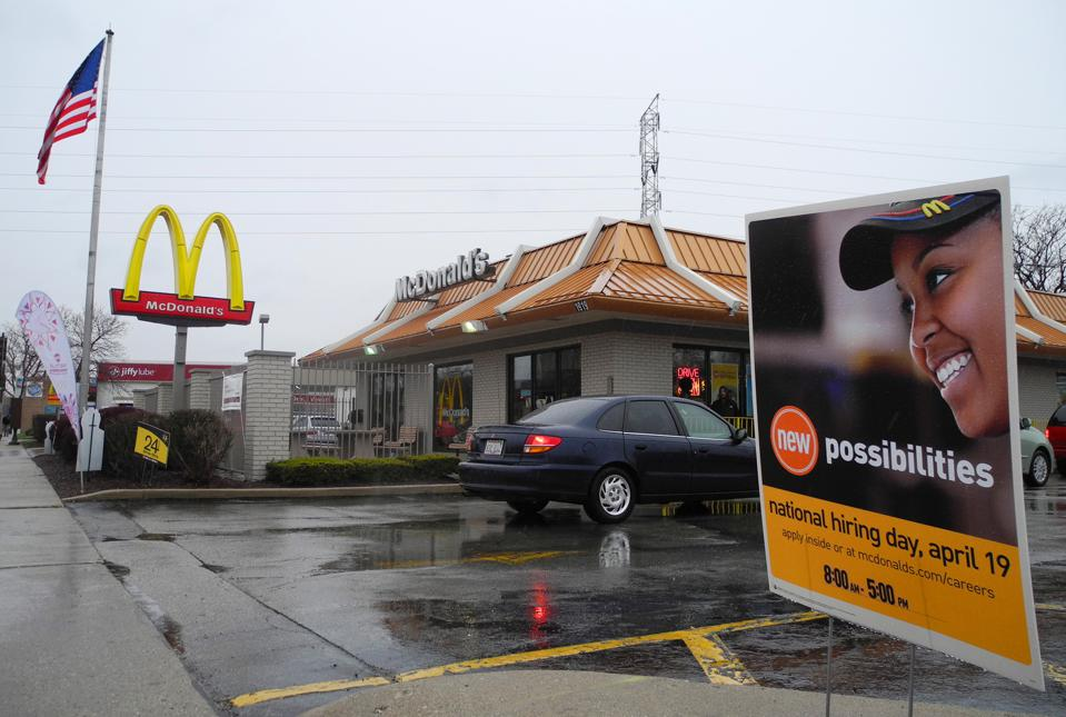 A sign is seen outside a McDonalds's res