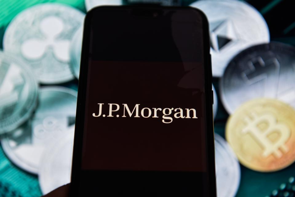 JP Morgan logo is seen on an android mobile phone