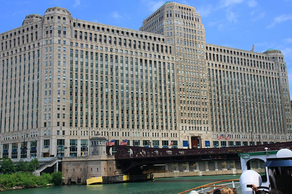Merchandise Mart on the Chicago River in Illionois USA.