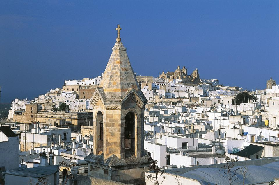 Old city center, bell tower in foreground, Ostuni