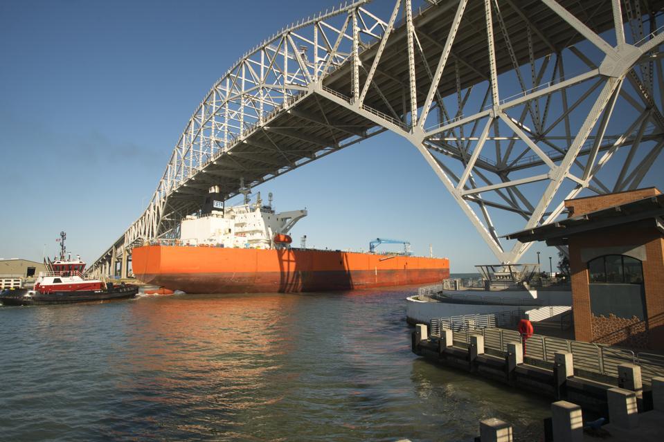 Oil Tanker Passing Under the Corpus Christi Harbor Bridge