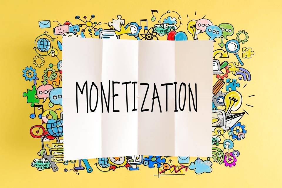 Monetization text with colorful illustrations