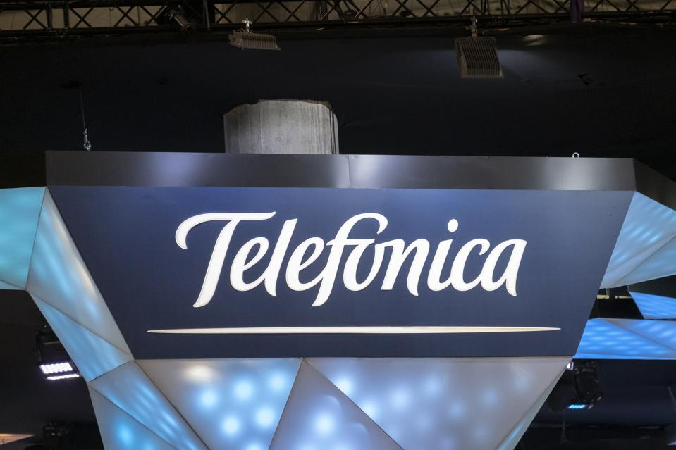 The Telefonica logo is seen during MWC 2019. The MWC2019...