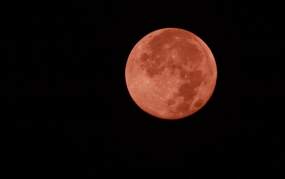 Super full moon in the dark night