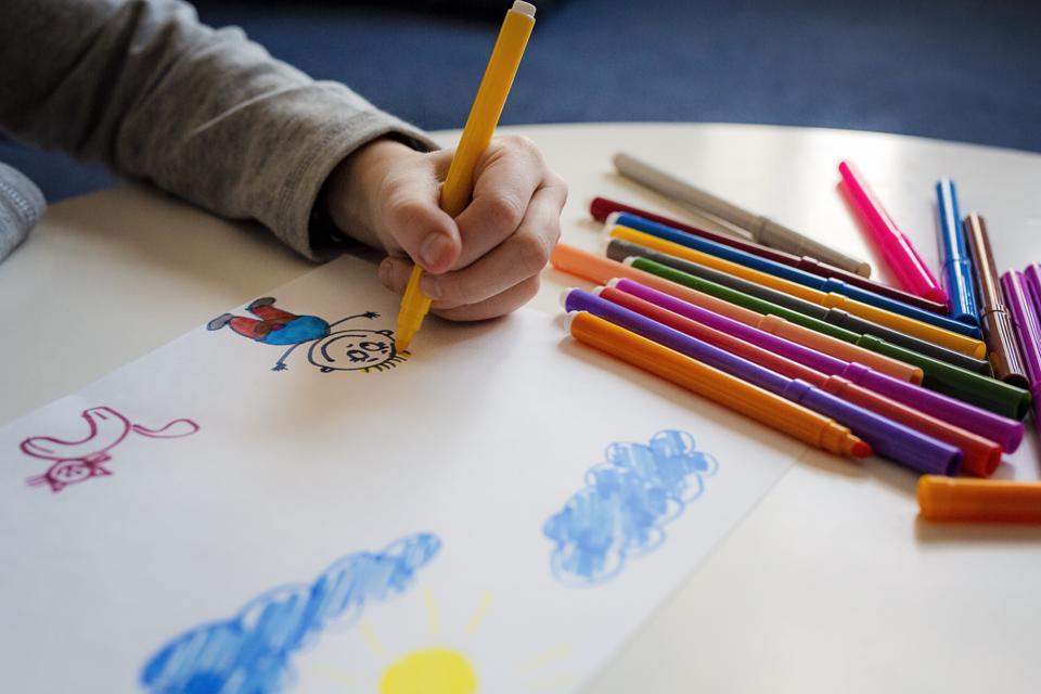 Girls hands drawing
