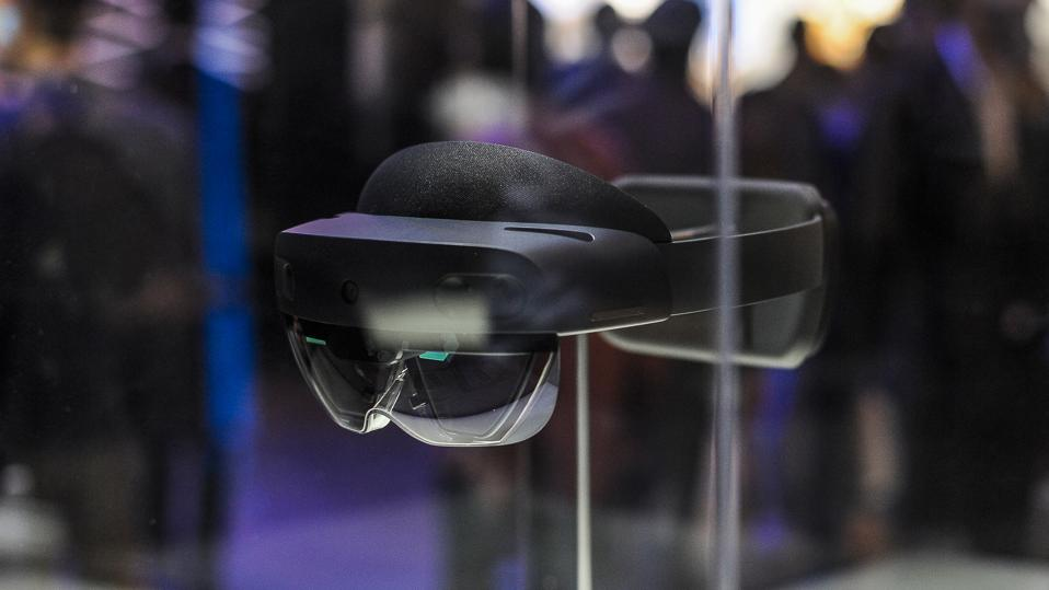 Day 4 - GSMA Mobile World Congress 2019 HoloLens 2, a AR headset designed by Microsoft, exhibited during the Mobile World Congress, on February 28, 2019 in Barcelona, Spain.   (Photo by Joan Cros/NurPhoto via Getty Images)