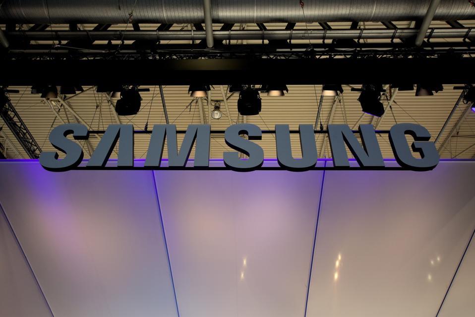 Samsung South Korea brand logo seen during the Mobile World...