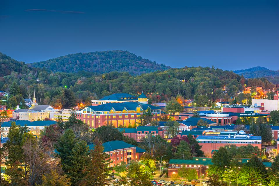 Boone and Appalachian State University are nestled on the slopes of the Blue Ridge Mountains in North Carolina.