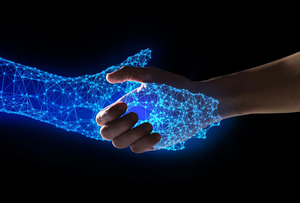 Human and robot handshake with empty space on blue background, artificial intelligence, AI, in futuristic digital technology and business concept, 3d illustration