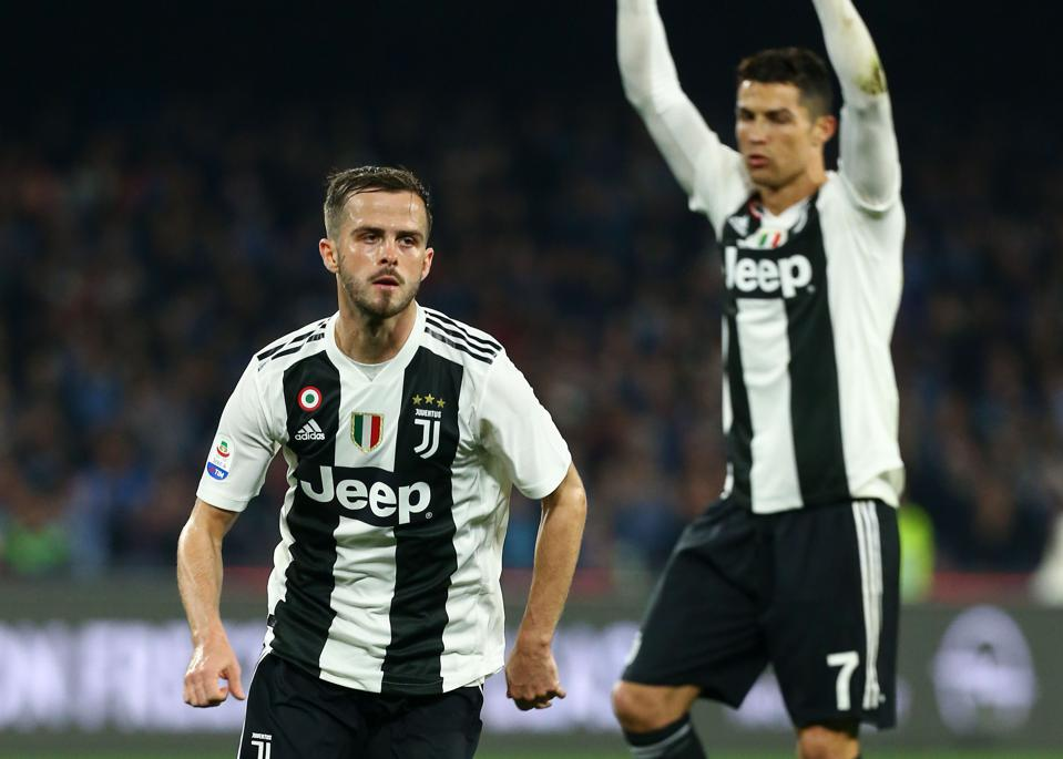 Juventus score a goal against Napoli in Serie A.