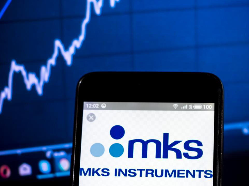 MKS Instruments, Inc. logo seen displayed on a smart phone