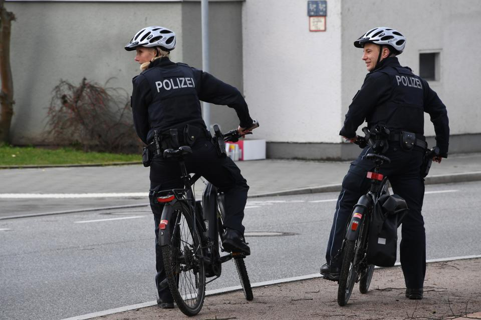 Police on official bicycles