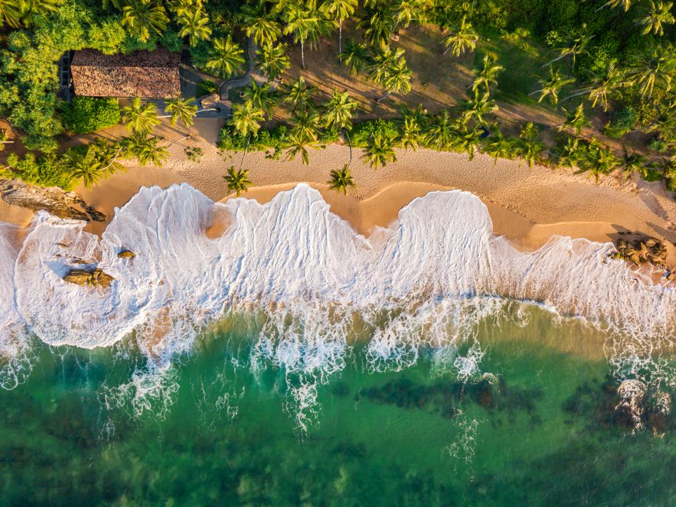 Sandy beach at sunset. Sri Lanka, Aerial view