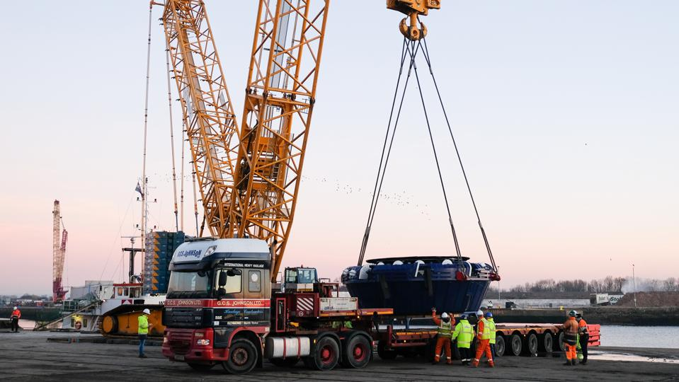 A Tunnel Boring Machine Is Unloaded At Teesside Port
