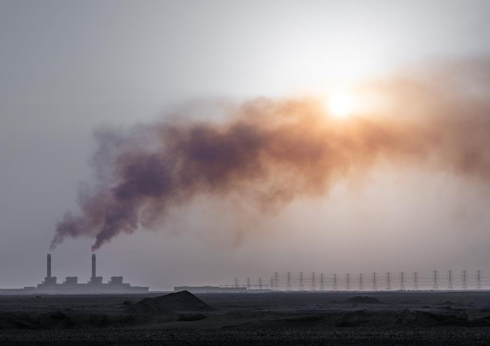 Smoke emitting from seawater desalination plant, Jizan Province, Jizan, Saudi Arabia...