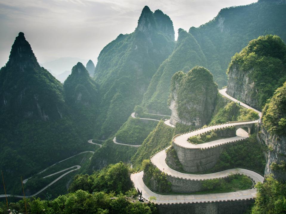 Serpentine Road At Tianmen