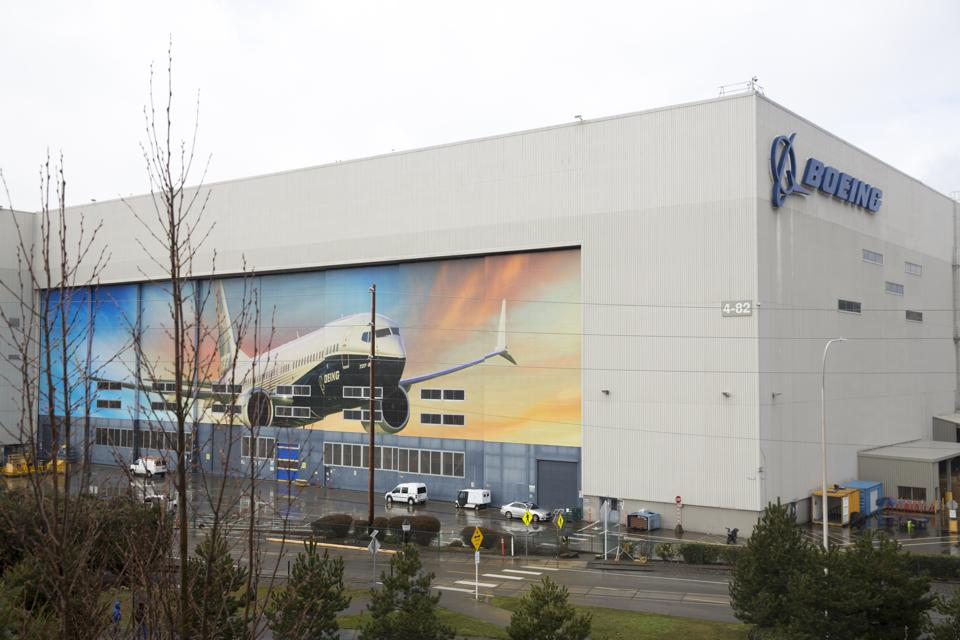Boeing 737 MAX 8 is pictured on the exterior of the Boeing Renton Factory