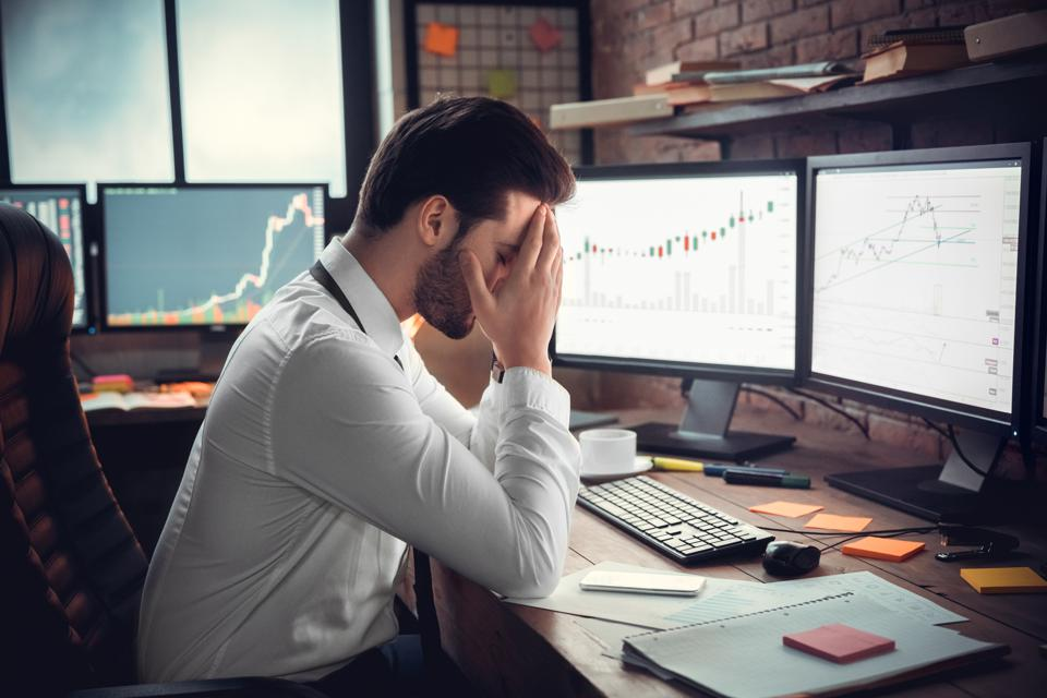 Frustrated trader shocked by stock fall, bankruptcy or money loss