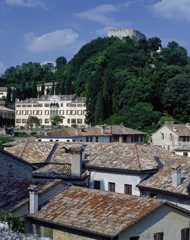 View of Asolo with Rocca Braida, fortress, Veneto