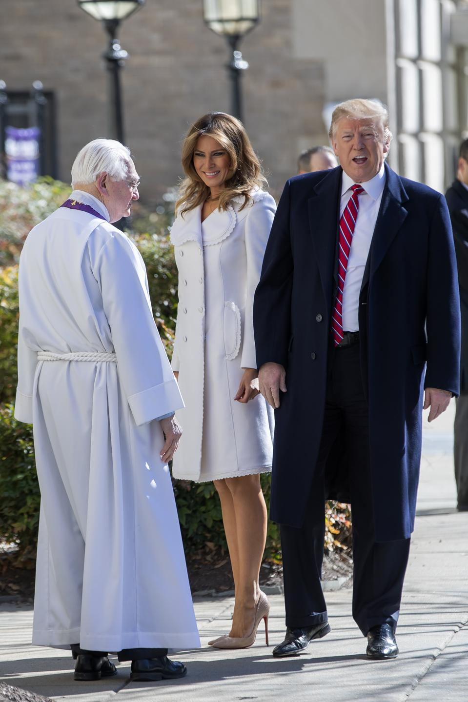 President Trump Attends Church Services on St. Patrick's Day