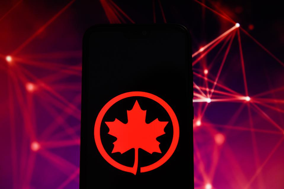 Air Canada logo is seen on an android mobile phone
