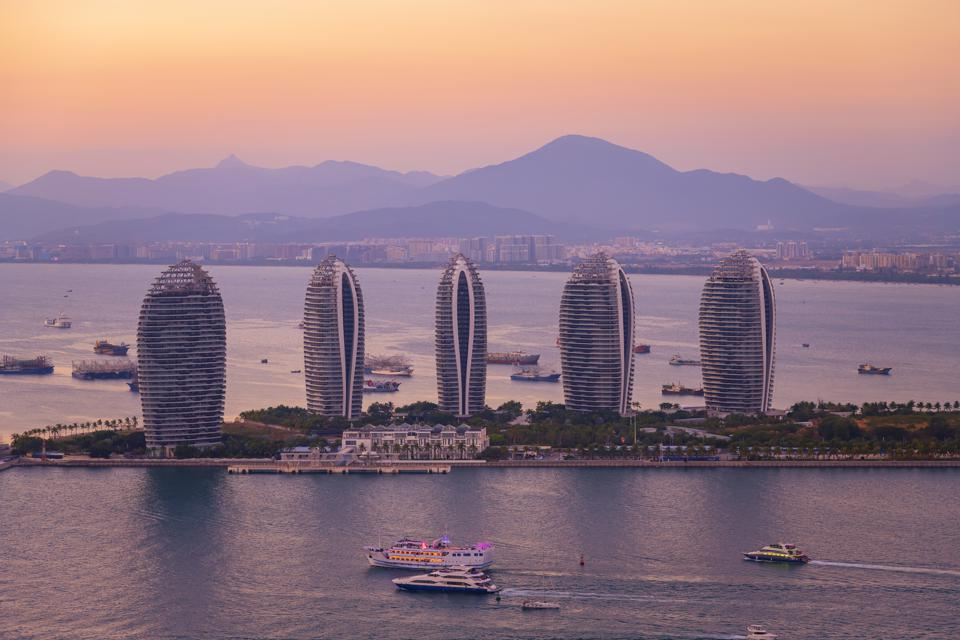 Aerial view of Sanya city and Dadonghai bay from Luhuitou Park in Hainan province, China