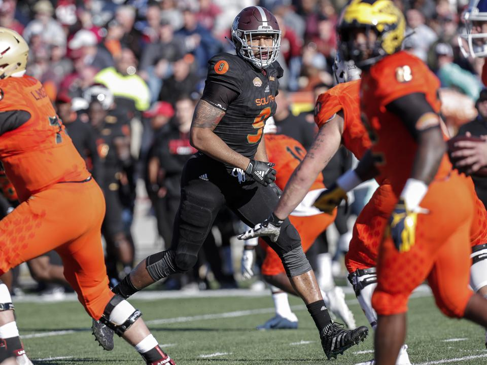 Montez Sweat of Mississippi State at the Senior Bowl on January 26.
