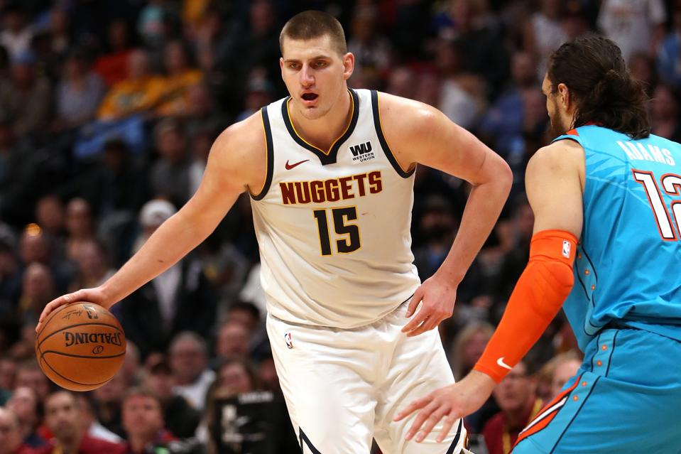 Nikola Jokic of the Denver Nuggets in a game against Oklahoma City on February 26.