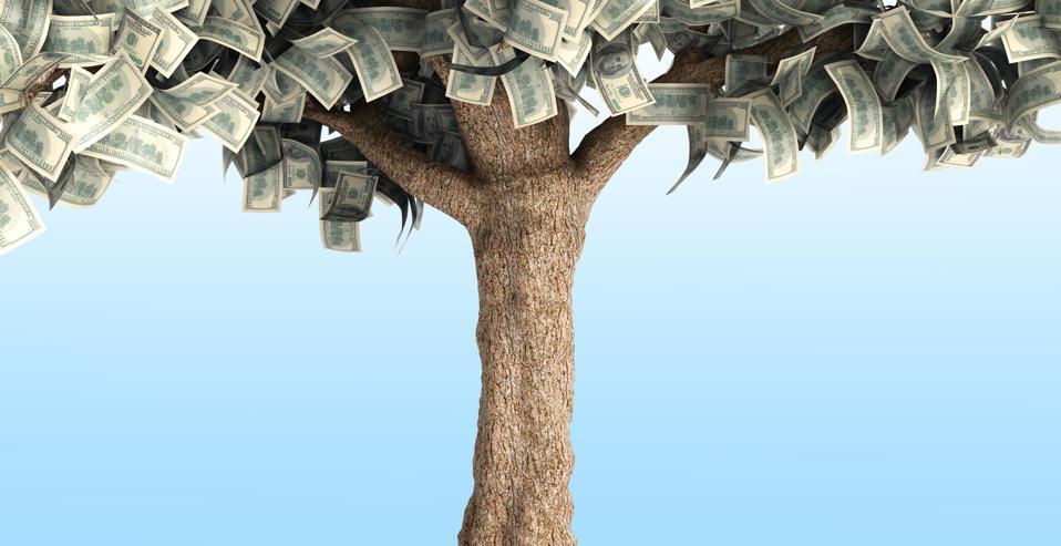 dollar tree with hundred dollar bills on blue 3d illustration
