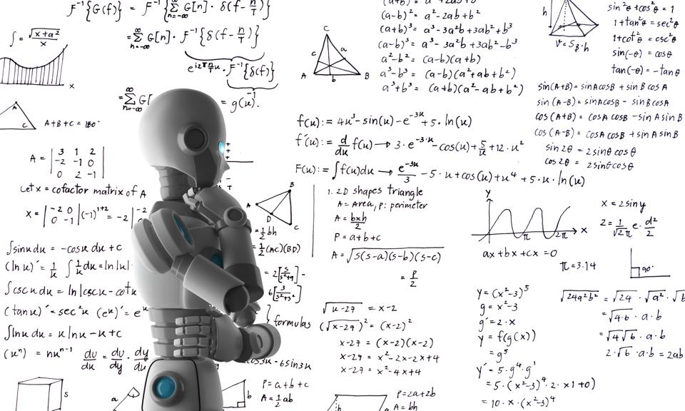 Side View Of Robot By Text On White Board