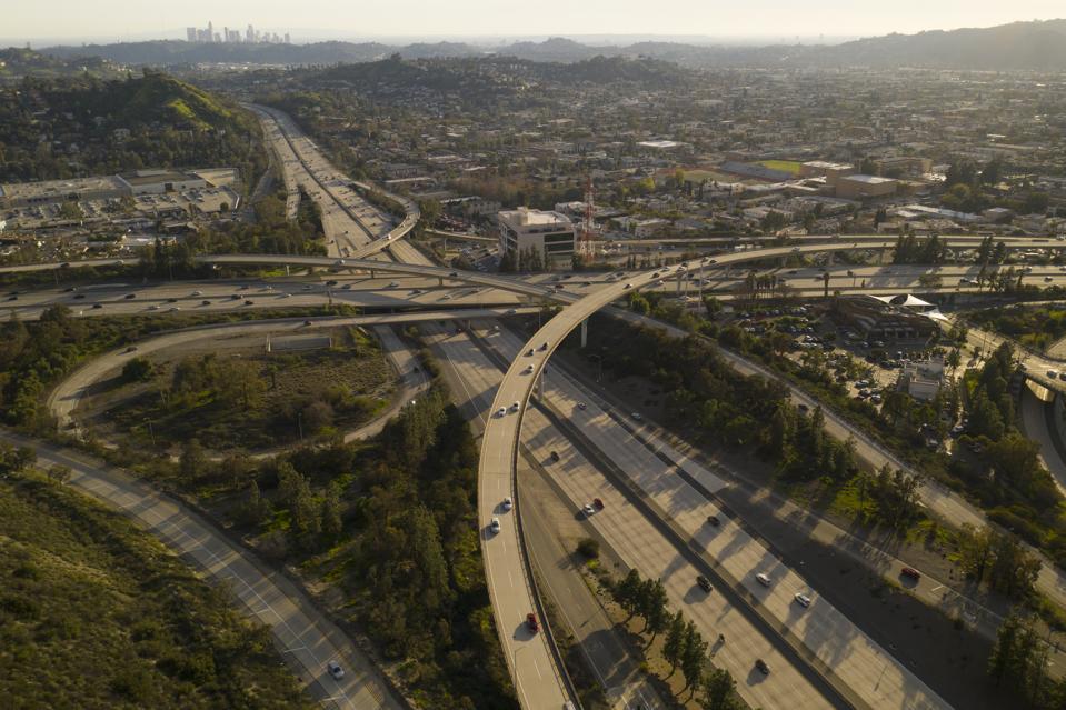 Glendale California 134 & 2 Freeway Aerial Drone Shot