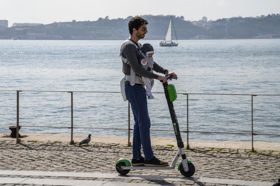 E-scooter with infant