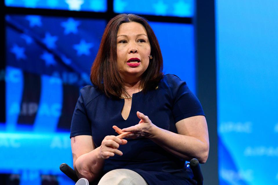 U.S. Senator Tammy Duckworth (D-IL) seen speaking during the...