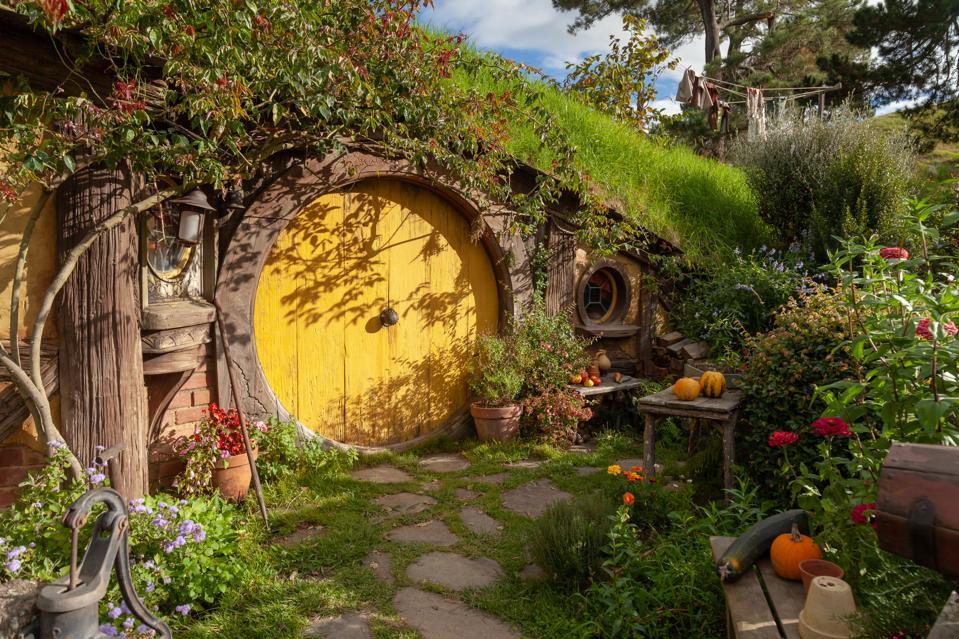 A Hobbit house at the Hobbiton movie set in Matamata, New Zealand.