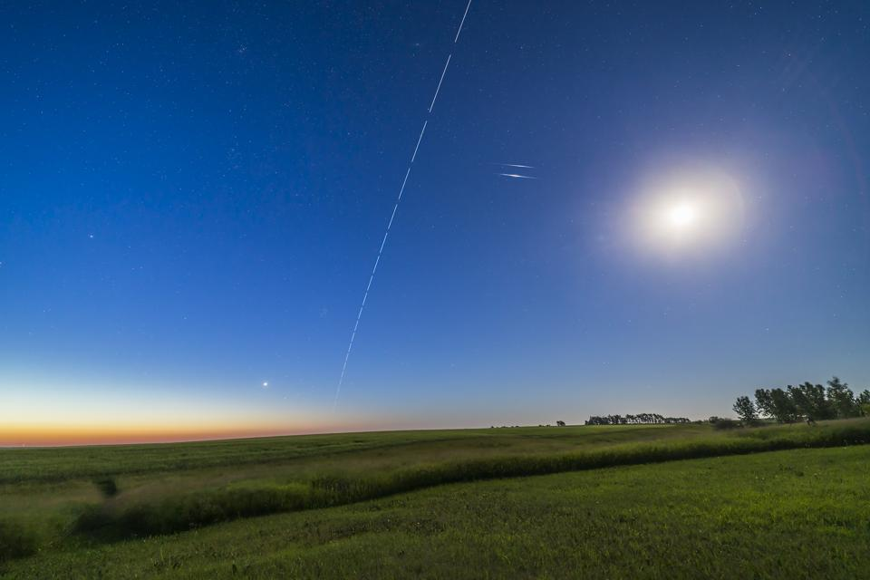 The International Space Station in a dawn pass