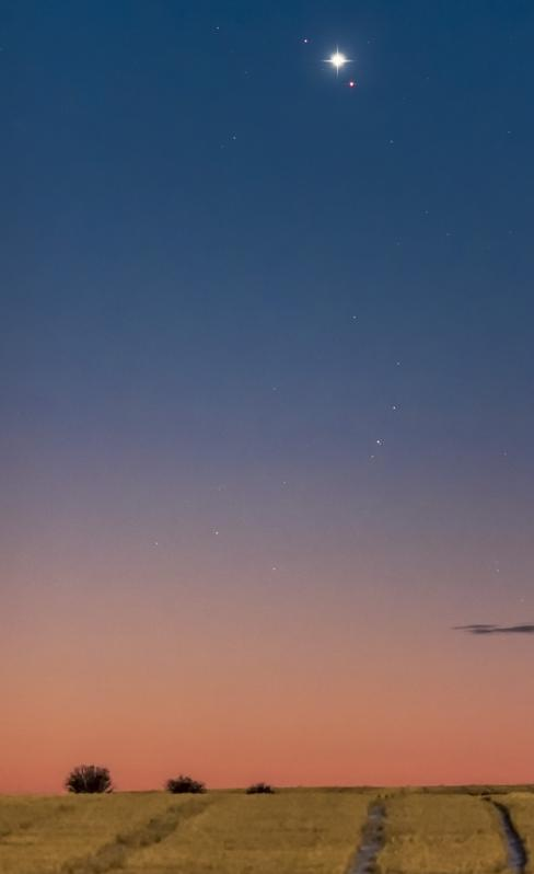Venus and Mars in close conjunction in the dawn sky on October 5, 2017.