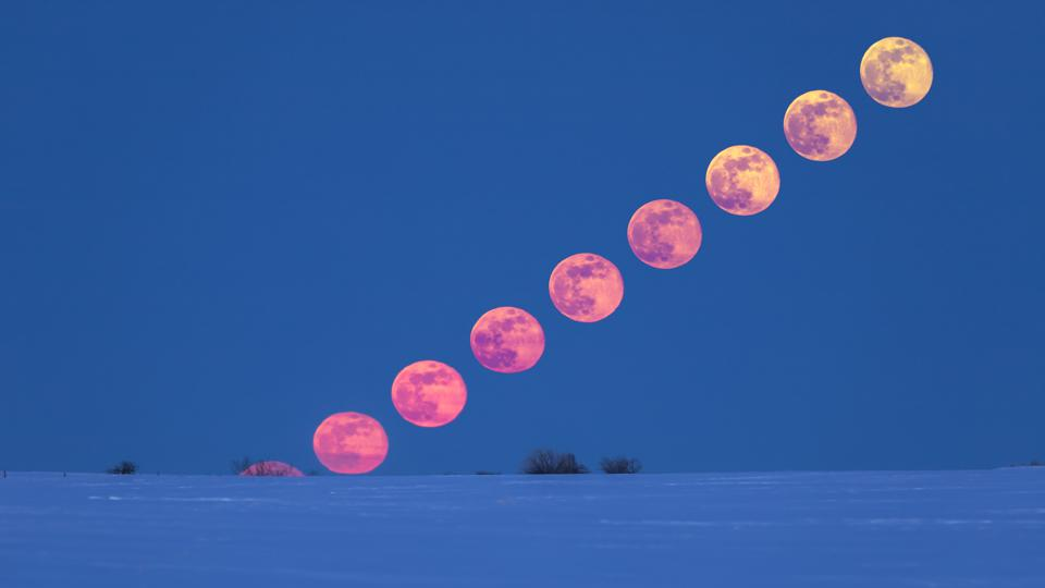 A rising full Moon on March 31, 2018 in Alberta, Canada (Photo by: VW Pics/Universal Images Group via Getty Images)