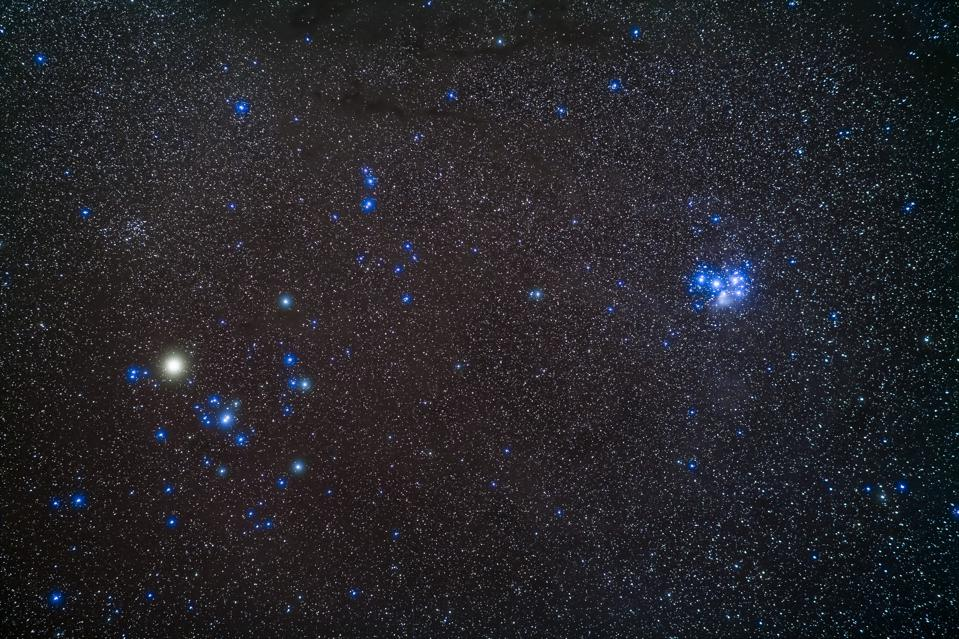 A portrait of the two groups of half-sisters related in mythology as daughters of Atlas: the Hyades