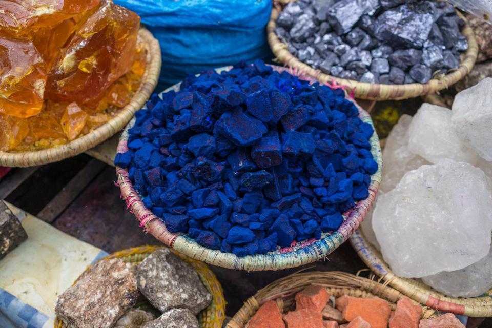 Indigo, color pigment, at the bazaar, Marrakech, Morocco
