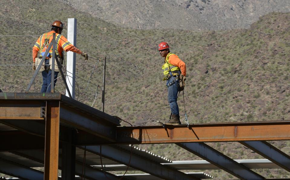 Construction workers in Palm Springs, California, USA