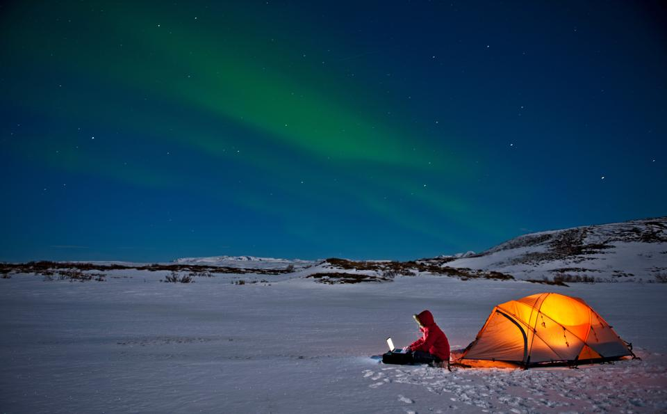 remote work Northern lights Iceland