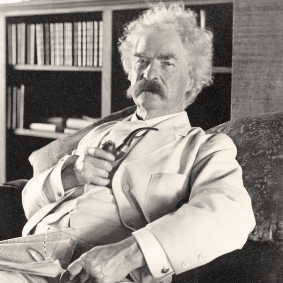 Samuel Langhorne Clemens 1835 to 1910 known by pen name Mark Twain American humorist, satirist, writer, and lecturer From photograph taken in his old age...