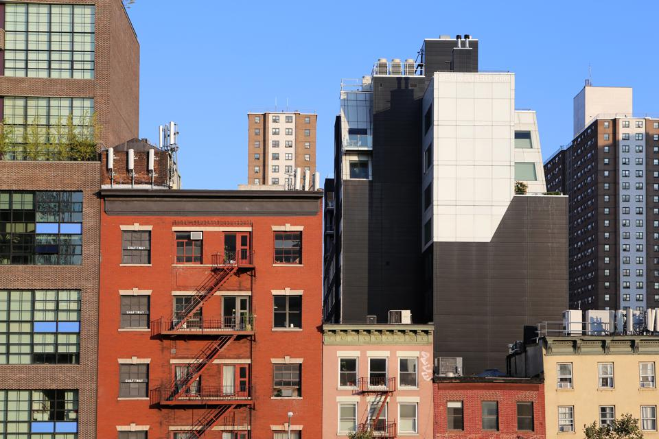 Building facades in the Meatpacking District in Lower Manhattan, New York City