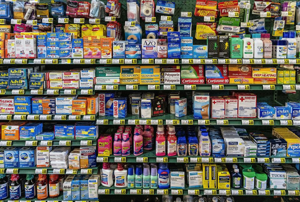 Over the counter medications display in a store...