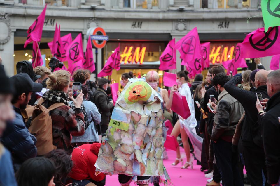 Extinction Rebellion 'catwalk' in London's Oxford Circus