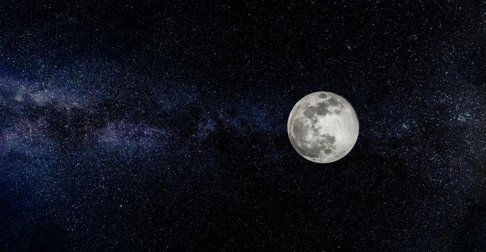 Full moon with stars in the background